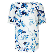 Buy John Lewis Capsule Collection Floral Silk Tee, White/Blue Online at johnlewis.com