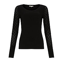 Buy Somerset by Alice Temperley Pointelle Sleeve Jumper, Black Online at johnlewis.com