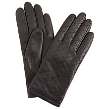 Buy John Lewis Quilted Cashmere Lined Leather Gloves, Black Online at johnlewis.com