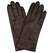 Buy John Lewis Cashmere Lined Leather Gloves, Chocolate Online at johnlewis.com