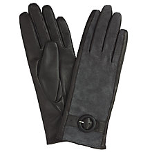 Buy John Lewis Suede Middle Buckle Detail Gloves, Black/Grey Online at johnlewis.com