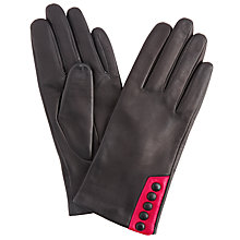 Buy John Lewis 5 Button Leather Gloves, Black/Pink Online at johnlewis.com