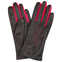 Buy John Lewis Two Tone Leather Gloves, Black/Bright Pink Online at johnlewis.com