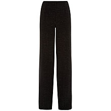Buy Jaeger Silk Palazzo Trousers, Black/White Online at johnlewis.com