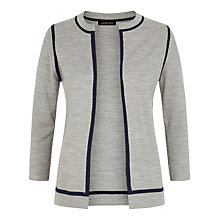 Buy Jaeger Gostwyck Tipped Wool Cardigan, Grey/Navy Online at johnlewis.com