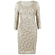 Buy Gina Bacconi Scallop Cord Sequin Dress, Beige Online at johnlewis.com