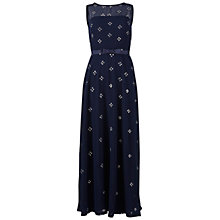 Buy Gina Bacconi Long Beaded Dress, Navy Online at johnlewis.com
