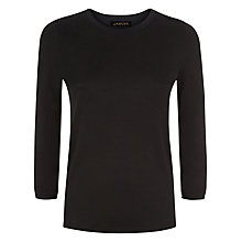 Buy Jaeger Knit Trim T-Shirt, Black Online at johnlewis.com