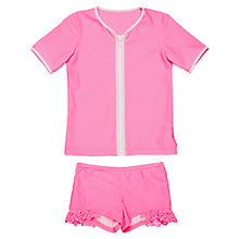 Buy Seafolly Girls' Zip Front Rashie Swimwear Set, Pink Online at johnlewis.com