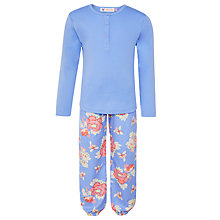 Buy John Lewis Girl Floral Jersey Pyjama Set, Blue Online at johnlewis.com