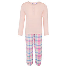 Buy John Lewis Girl Long Sleeve Check Pyjama Set, Pink/Multi Online at johnlewis.com