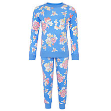 Buy John Lewis Girls' Long Sleeve Floral Pyjama Set, Blue Online at johnlewis.com