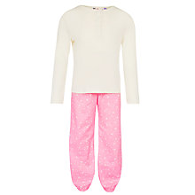 Buy John Lewis Girls' Long Sleeve Stars Pyjama Set, Pink/Cream Online at johnlewis.com