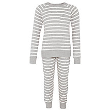 Buy John Lewis Girls' Stripe Pyjama Set, Grey Online at johnlewis.com