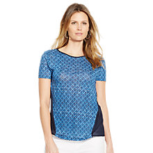 Buy Lauren Ralph Lauren Linen-Cotton Panel Top, Indigo Sky Online at johnlewis.com