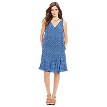 Buy Lauren Ralph Lauren Cap Geometric-Print Ruffled Dress, Indigo Sky Online at johnlewis.com