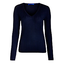 Buy Winser London Ribbed V-neck Jumper, Midnight Online at johnlewis.com