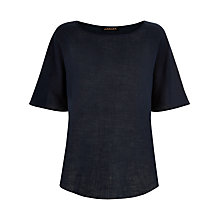 Buy Jaeger Linen Casual T-Shirt, Midnight Online at johnlewis.com