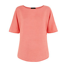 Buy Jaeger Linen Casual T-Shirt, Peach Blossom Online at johnlewis.com
