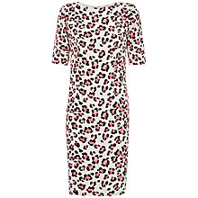 Buy Jaeger Silk Floral Animal Print Dress, Stone Online at johnlewis.com