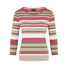 Buy Viyella Petite Cotton Stripe Top, Multi Olive Online at johnlewis.com