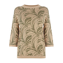 Buy Warehouse Palm Jacquard Jumper, Beige Online at johnlewis.com