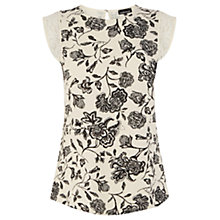 Buy Warehouse Floral Print Shell Top, Natural Online at johnlewis.com