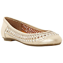 Buy Dune Moren Leather Woven Pumps, Gold Online at johnlewis.com