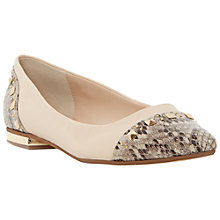 Buy Dune Binki Flat Studded Ballerina Pumps, Nude Leather Online at johnlewis.com