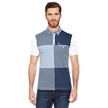 Buy Original Penguin Chess Split Panel Polo Shirt, Blue Online at johnlewis.com