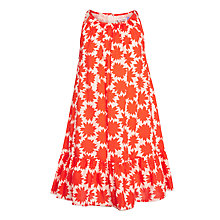 Buy John Lewis Girls' Flower Swing Dress, Orange Online at johnlewis.com