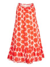 John Lewis Girls%27 Flower Swing Dress, Orange