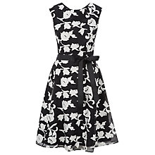 Buy Kaliko Organza Floral Dress, Black/White Online at johnlewis.com