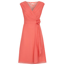 Buy Kaliko Flower Applique Soft Pleat Dress, Pastel Orange Online at johnlewis.com