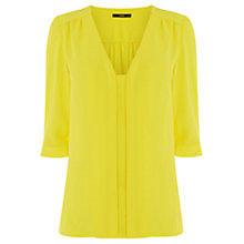 Buy Oasis Nicky Tuck Sleeve Top, Bright Yellow Online at johnlewis.com