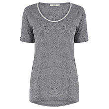 Buy Oasis Metallic Trim T-Shirt, Mid Grey Online at johnlewis.com