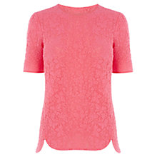 Buy Oasis Butterfly Jacquard T-Shirt, Mid Pink Online at johnlewis.com