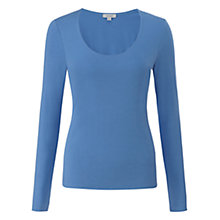 Buy Jigsaw Double Front Scoop T-Shirt, Mid Blue Online at johnlewis.com