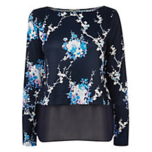 Buy Oasis Trailing Oriental Top, Blue Online at johnlewis.com