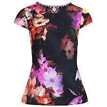 Buy Ted Baker Arai Embellished Cascading Floral Top, Multi Online at johnlewis.com
