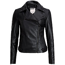 Buy Ted Baker Preeya Leather Biker Jacket, Black Online at johnlewis.com