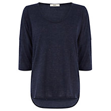 Buy Oasis Neppy Voop Neck T-Shirt, Navy Online at johnlewis.com