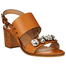 Buy Collection WEEKEND by John Lewis Laval Leather Bejewelled Sandals, Tan Online at johnlewis.com
