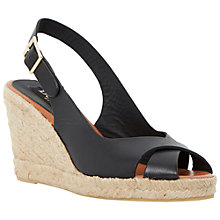 Buy Dune Black Kimberly Leather Espadrille Wedges Online at johnlewis.com