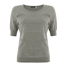 Buy Mint Velvet Duck Egg Lace Insert Cotton Jumper, Mint Online at johnlewis.com