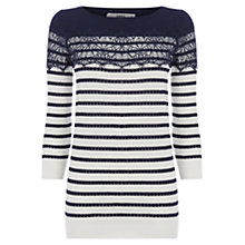Buy Oasis Lace Stripe Pointelle Cotton Top, Off White/Black Online at johnlewis.com