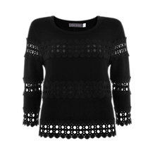 Buy Mint Velvet Lace Block Jumper, Black Online at johnlewis.com