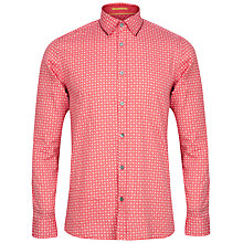 Buy Ted Baker Rumple Print Long Sleeve Shirt, Red/White Online at johnlewis.com