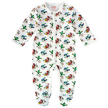 Buy Cath Kidston Baby Transport Print Sleepsuit, Off White Online at johnlewis.com
