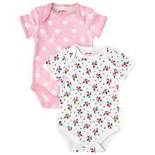 Buy Cath Kidston Baby Bodysuit, Pack of 2, Pink/White Online at johnlewis.com